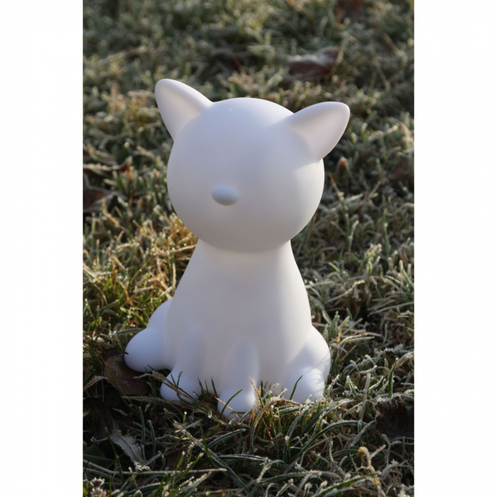 Decorațiune solară LED, albă,pisică în culori 4