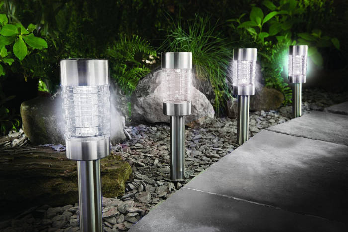 Lampă solară LED(sticlă-inox)41.5 cm [0]