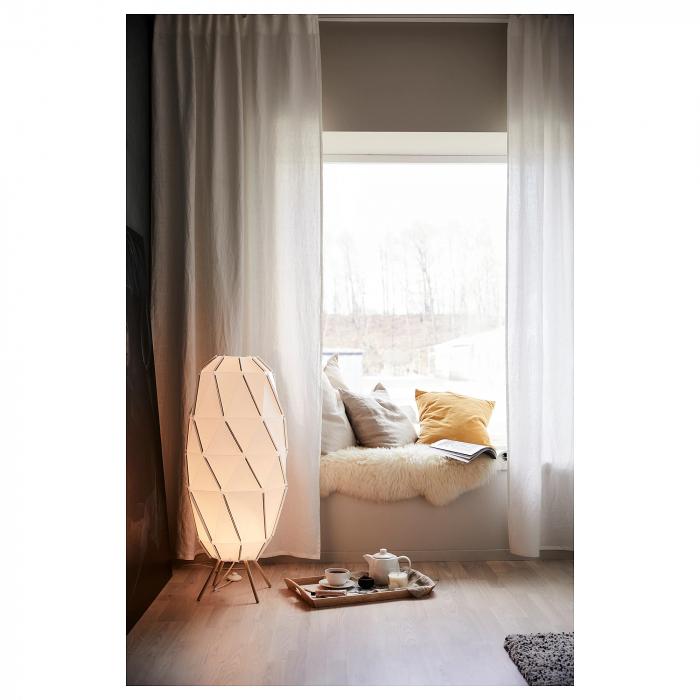 Lampadar Hera, bază din lemn, alb - 1m 2
