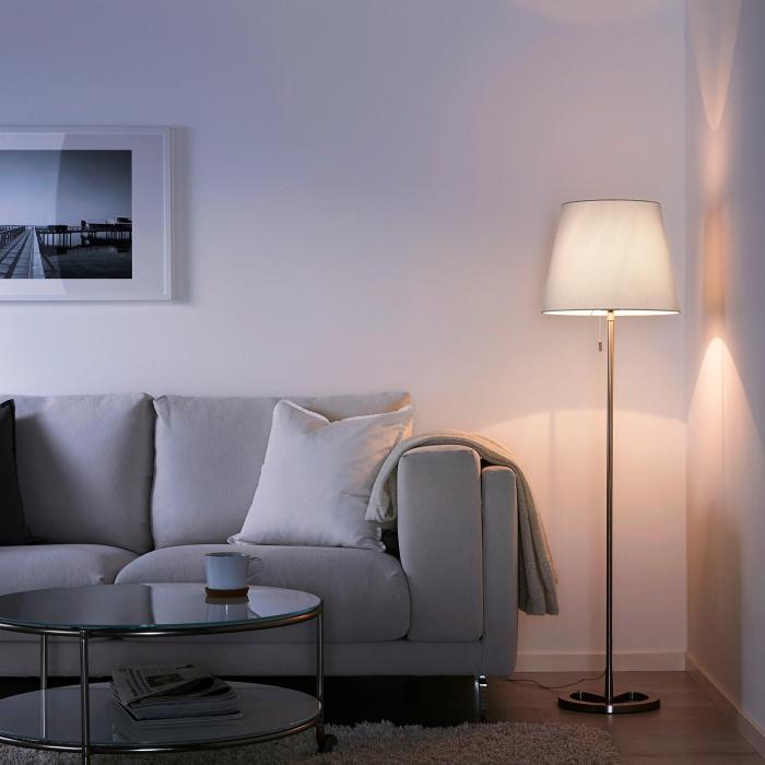 Lampadar reglabil, alb, oțel - 168cm 1
