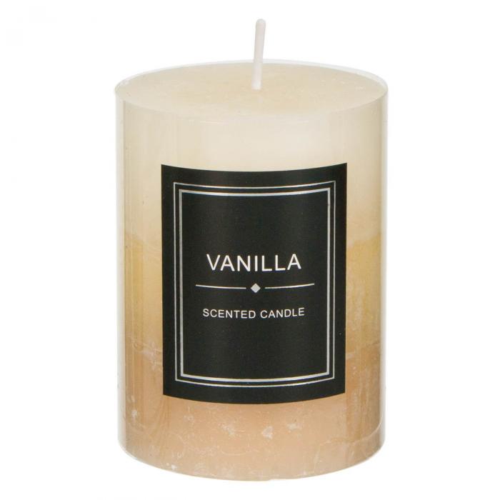 Lumânare parfumată bej decorativă cu miros de vanilie 0