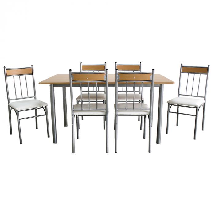 Set Sophie masă cu 6 scaune tapițate, bucătărie, bej [2]