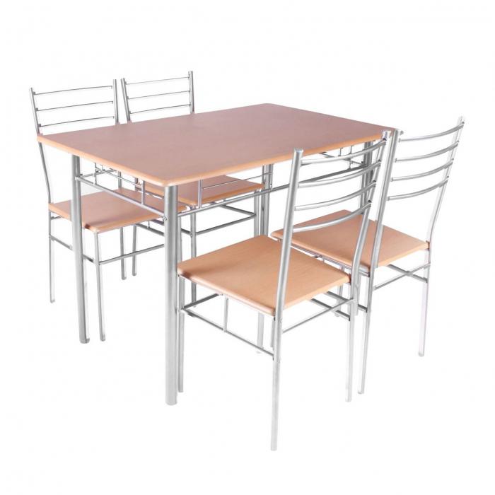 Set Melanie masă cu 4 scaune, natur 0