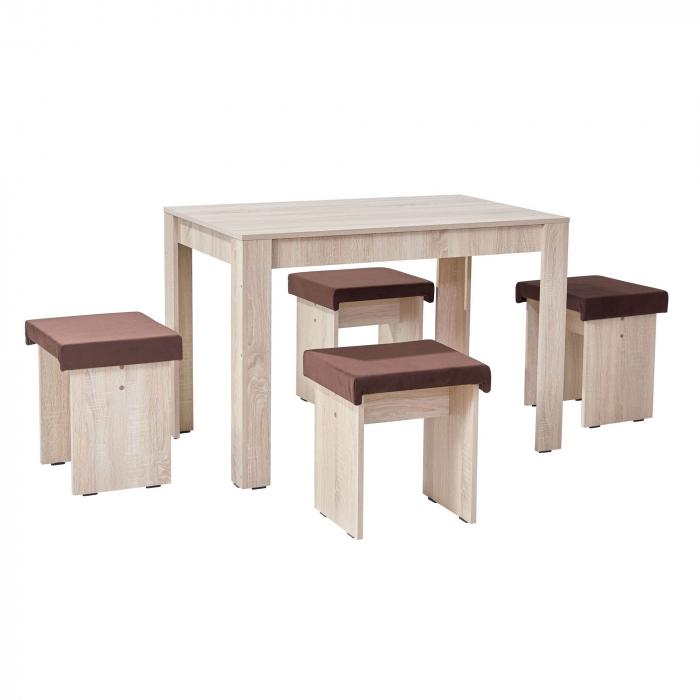 Set de masă cu 4 tabureți tapițați-bardolino 0