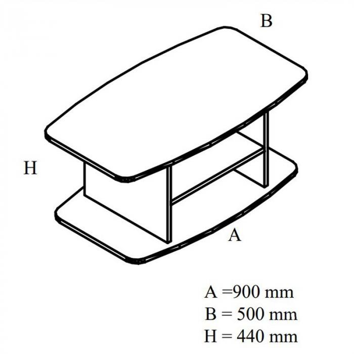 Măsuță living dreptunghiulară 90 x 50 x 44 cm 3