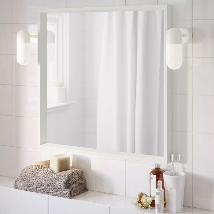 Oglindă, alba 65x65 cm 0