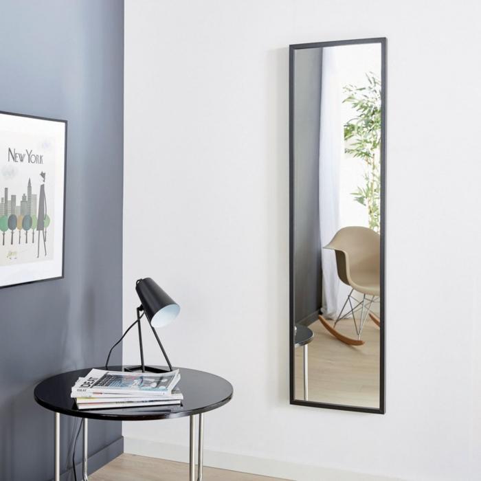 Oglindă 30 x 120 cm,ramă MDF negru Jolino 1