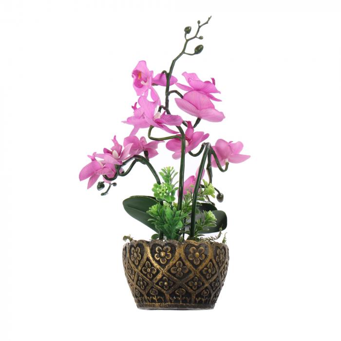 Floare artificială, orhidee roz, 25 cm [0]