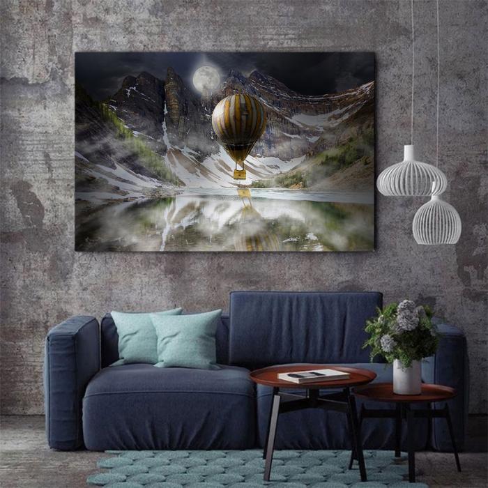 Tablou Canvas - Blue Mountain Balloons 1