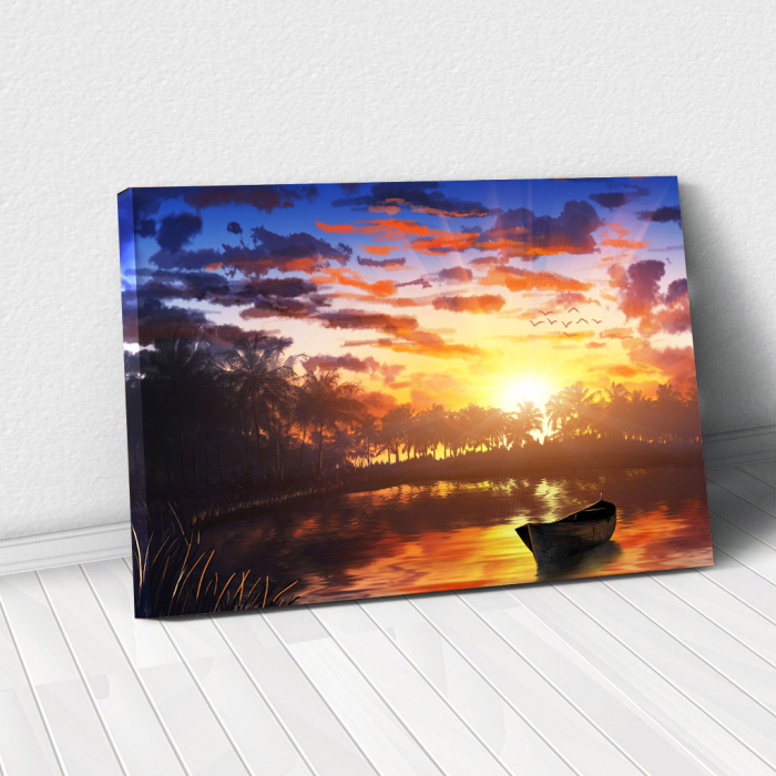 Tablou Canvas - Apus pe lac 0