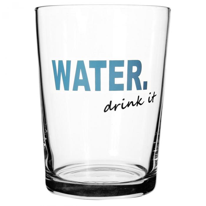 """Pahar de apă din sticlă""""water-drink it""""-510 ml [0]"""