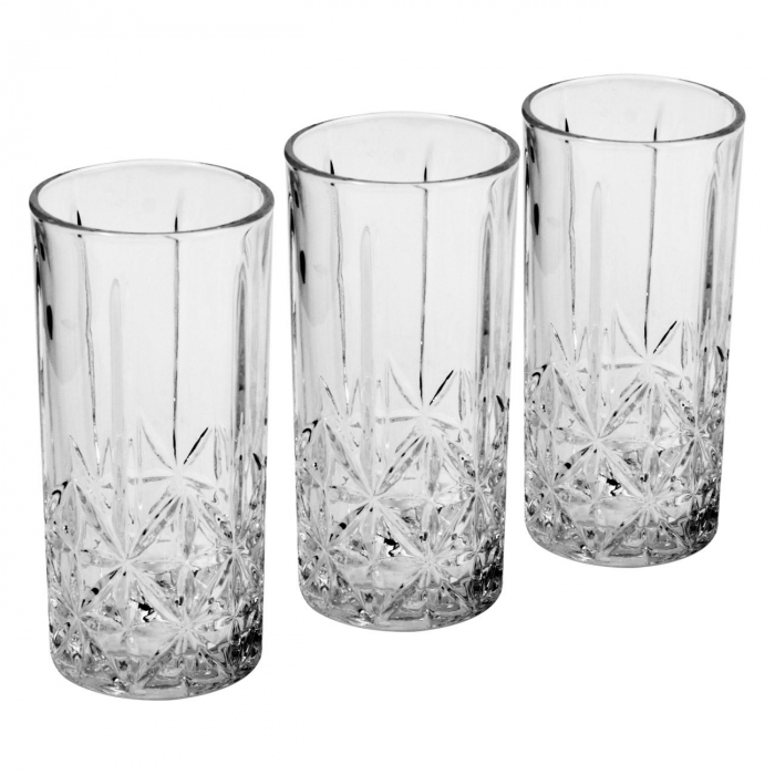 Set de 3 pahare din sticlă cu model-350 ml 0