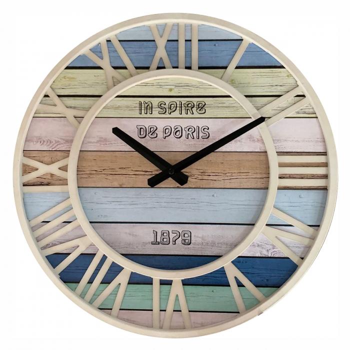 Ceas de perete , analog, rotund, din metal + MDF, diametru 40 cm 0