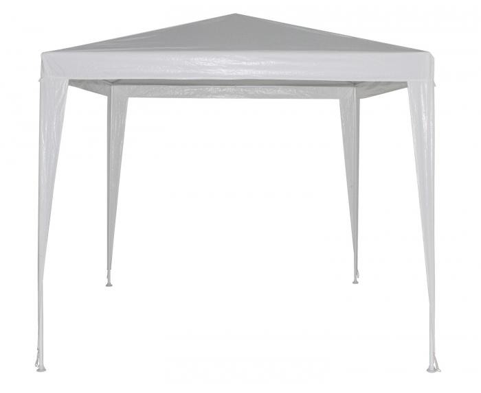 Pavilion grădină pătrat, cadru metalic + polietilenă alb 2.4 x 2.4 m 0