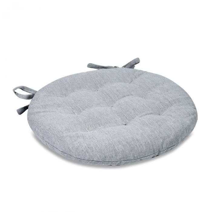 Pernă pentru șezut, rotundă, bumbac, gri, 40 cm 1