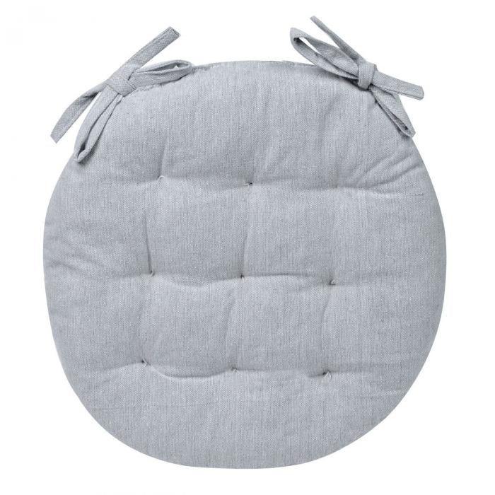 Pernă pentru șezut, rotundă, bumbac, gri, 40 cm 0