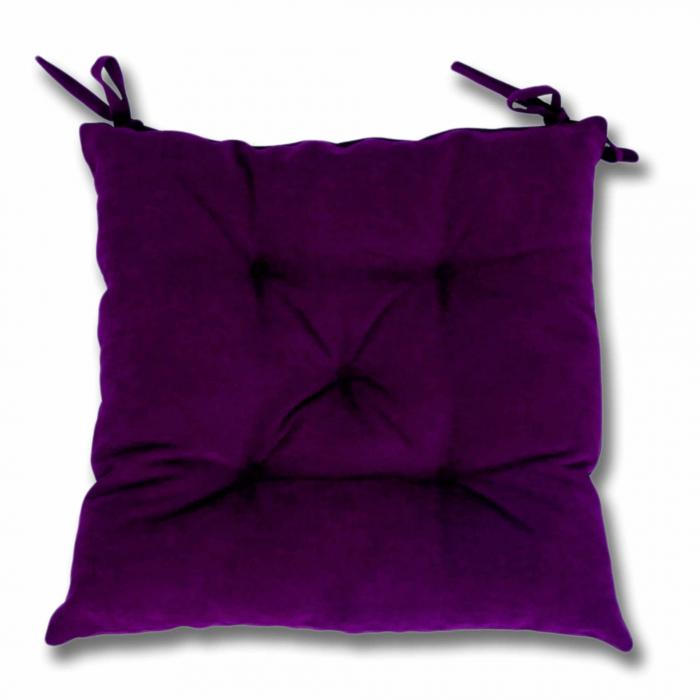 Pernă scaun,poliester cu fibră, poliester siliconizată, mov, 43 x 43 cm [0]