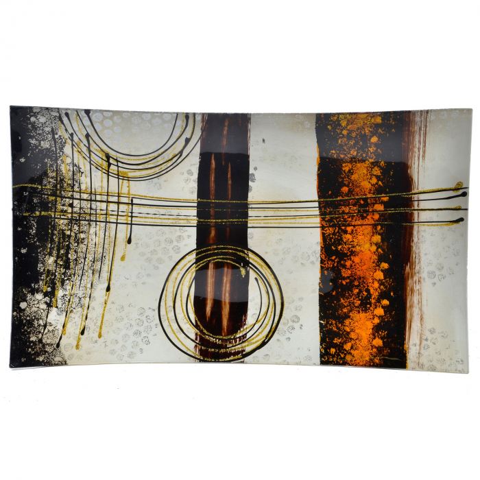 Platou decorativ din sticlă cu model - 41cm [0]