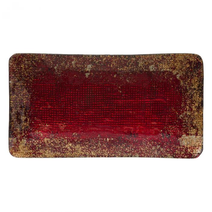 Platou decorativ din sticlă, roșu - 28cm 0