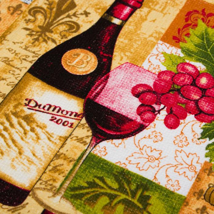 Prosop de bucătărie cu model, vin cu struguri,bumbac,60x35 cm 1