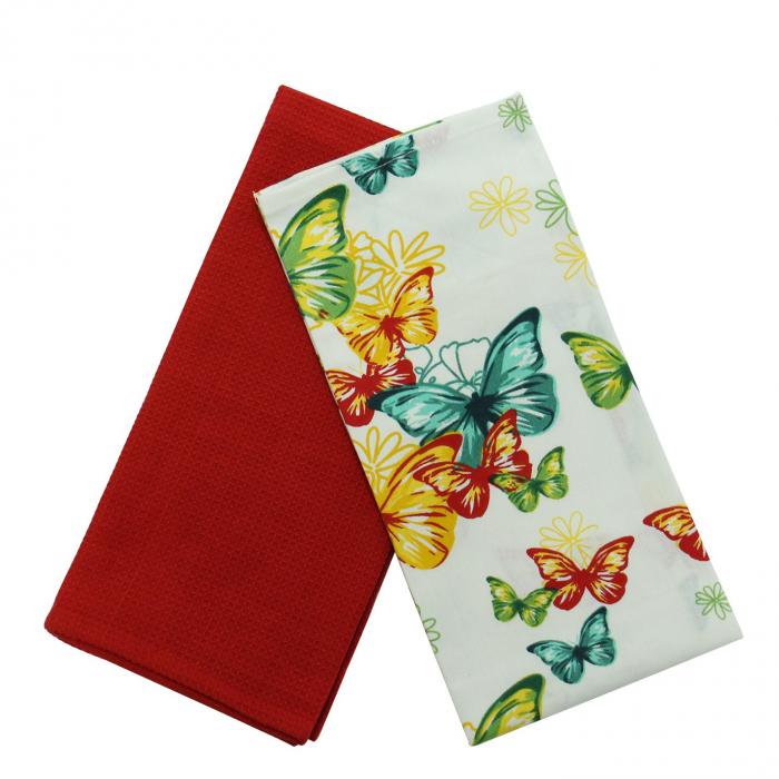 Prosop bucătărie, set 2 bucati, model fluturi și flori, bumbac, multicolor, 70 x 50 cm [0]
