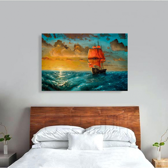 Tablou Canvas - Sailing on sunset 1