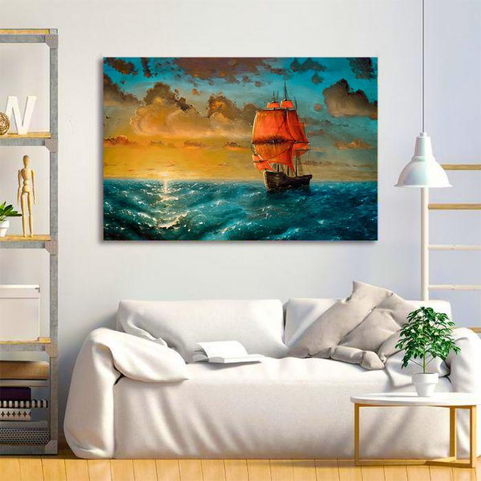 Tablou Canvas - Sailing on sunset 2