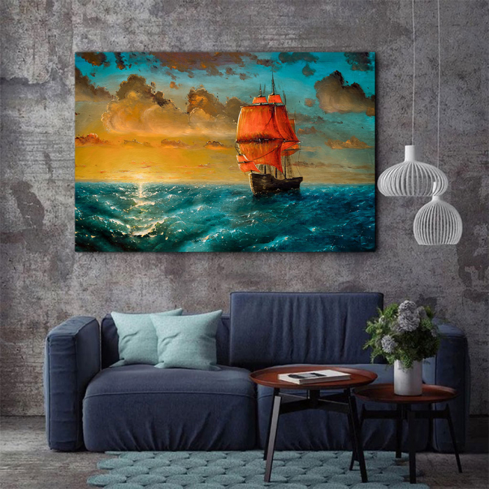 Tablou Canvas - Sailing on sunset 3