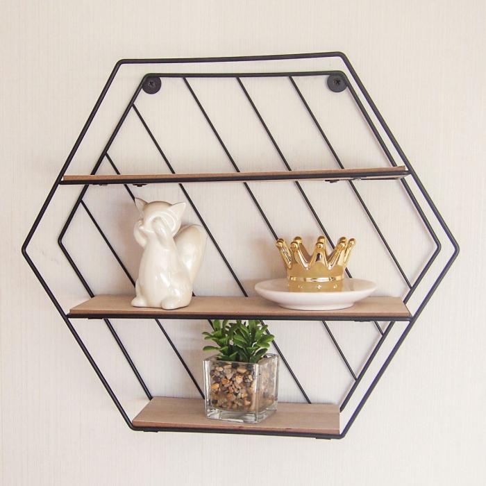 Raft decorativ 3 niveluri din Metal & lemn 35x9x30,5 cm [0]