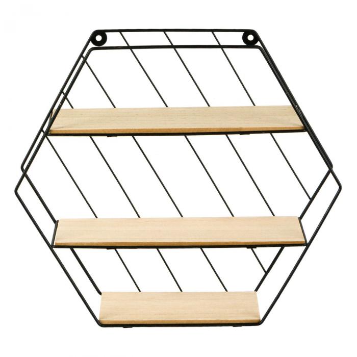 Raft decorativ 3 niveluri din Metal & lemn 35x9x30,5 cm [1]