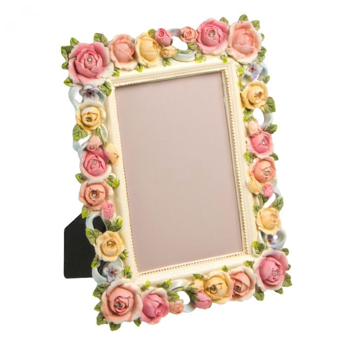 Ramă foto din trandafiri colorați.10x15 cm 0