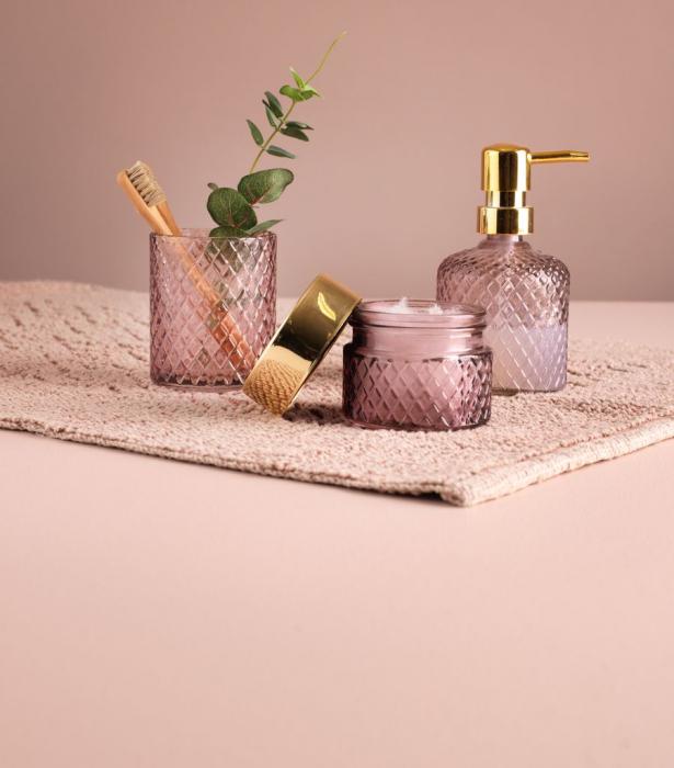 Recipient sticlă, roz/gri.buc [1]