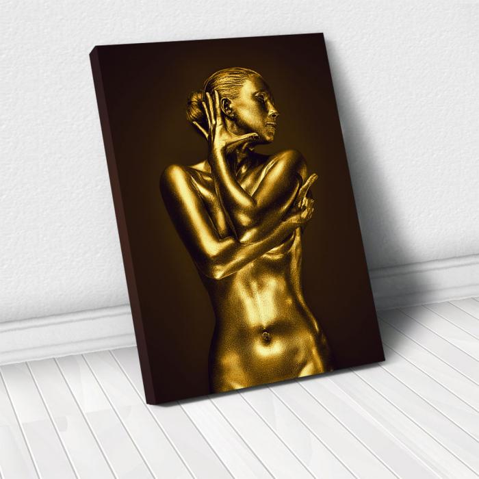 Tablou Canvas - Golden Nude Pose 1 0