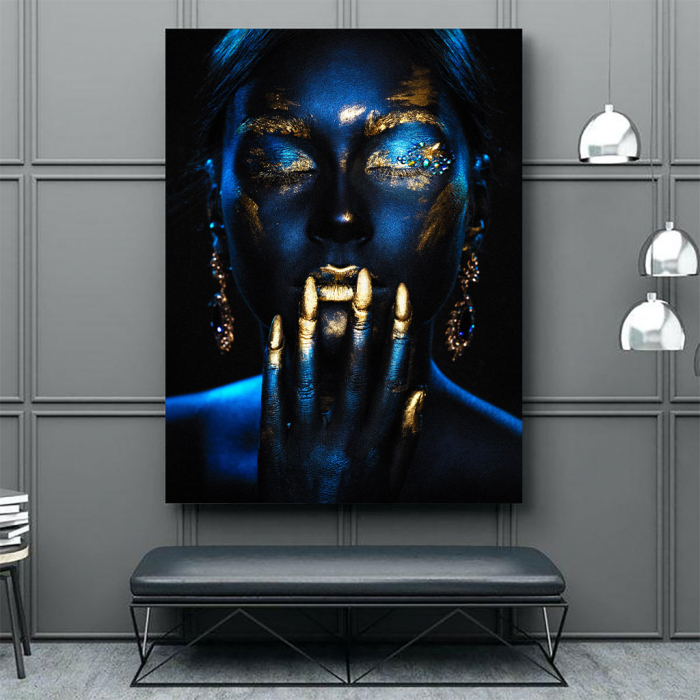 Tablou Canvas - Blue & Gold ll [3]
