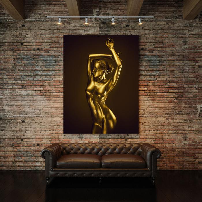 Tablou Canvas - Golden Nude Pose 3 [3]