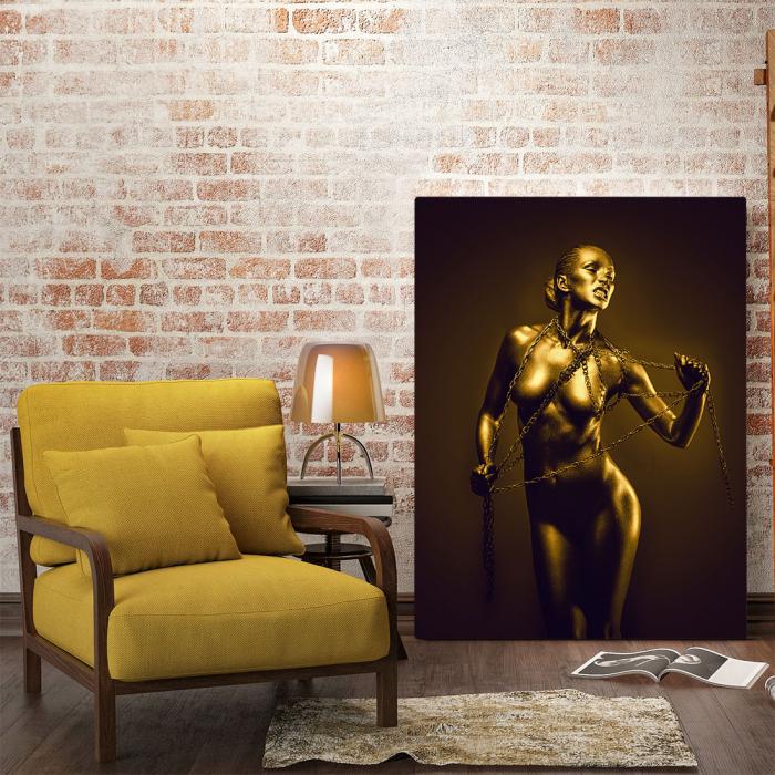 Tablou Canvas - Golden Nude Pose 4 [1]