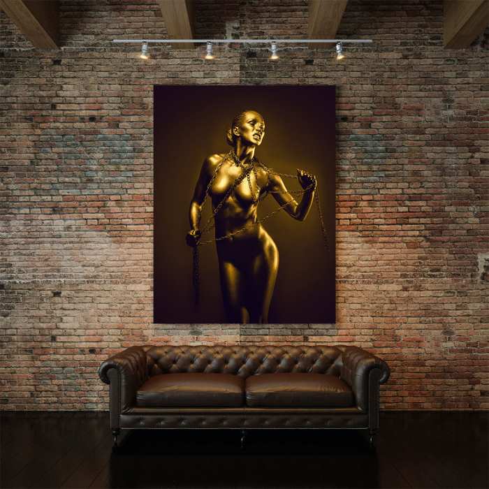 Tablou Canvas - Golden Nude Pose 4 [3]