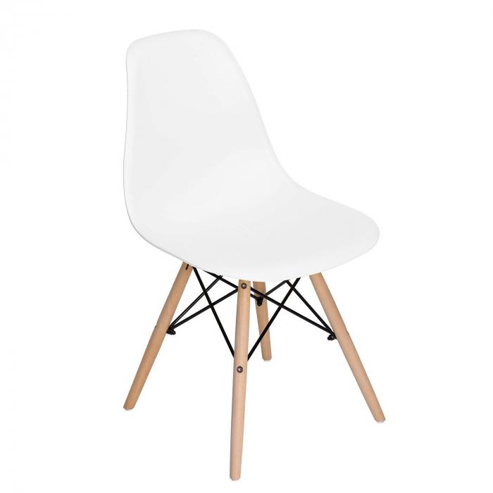 Scaun din lemn natur alb [0]