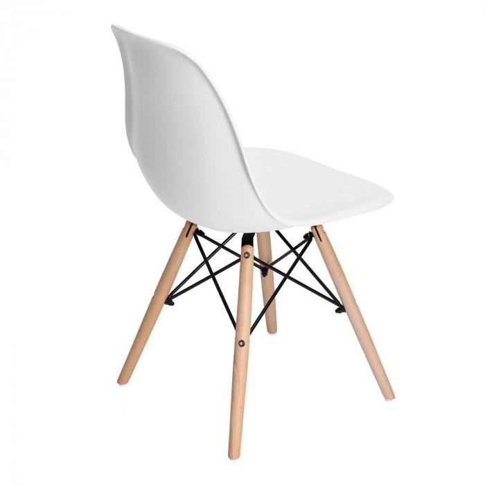 Scaun din lemn natur alb [2]