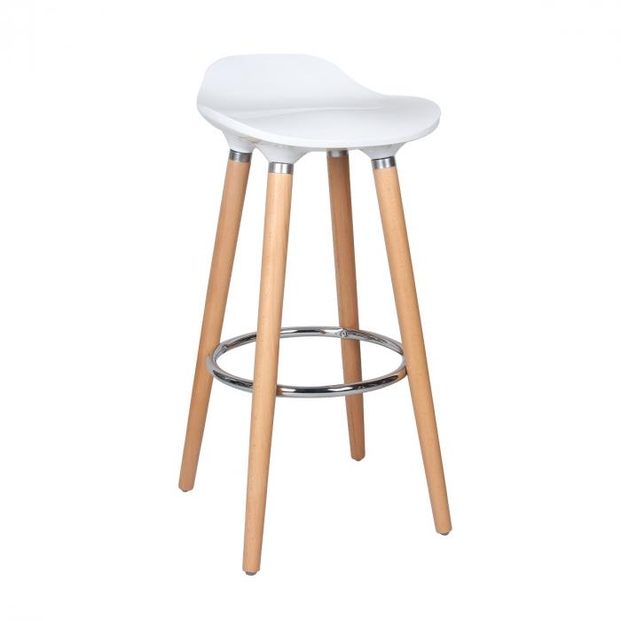 Scaun bar Biha, picioare fag, H 80.5 x L 39 x D 40 cm, culoare alb [0]