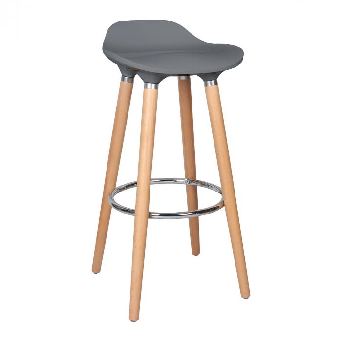 Scaun bar Biha, picioare fag, H 80.5 x L 39 x D 40 cm, culoare gri [0]