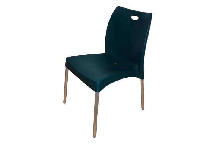 Scaun pentru gradină, Holly, fără brațe, metal + plastic, verde închis 0