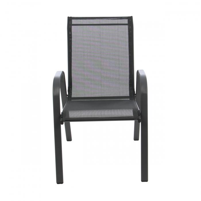 Scaun pentru grădină, metal + textilen,negru 0