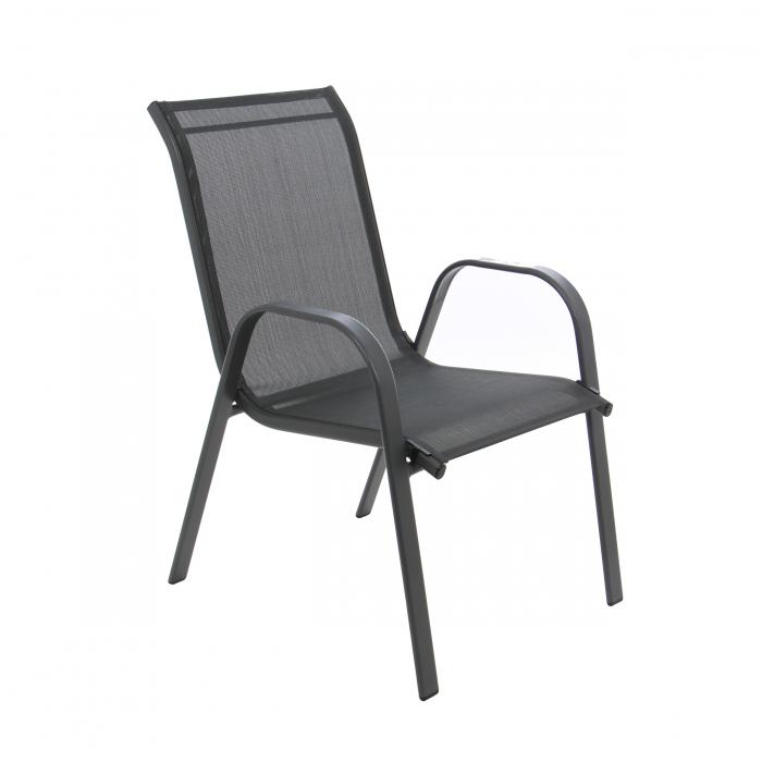 Scaun pentru grădină, metal + textilen,negru 1
