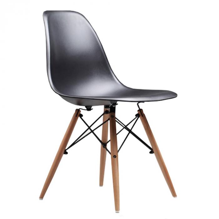 Scaun din lemn natur negru 0