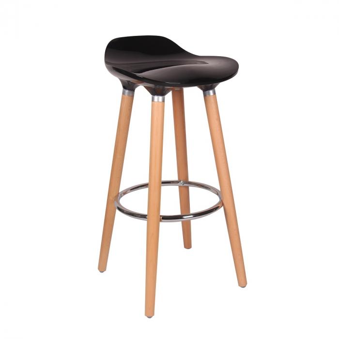 Scaun bar Biha, picioare fag, H 80.5 x L 39 x D 40 cm, culoare negru 0