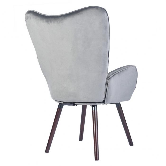 Scaun bucătărie / living fix Custio, tapițat, lemn fag + cadru metal + material textil gri 2