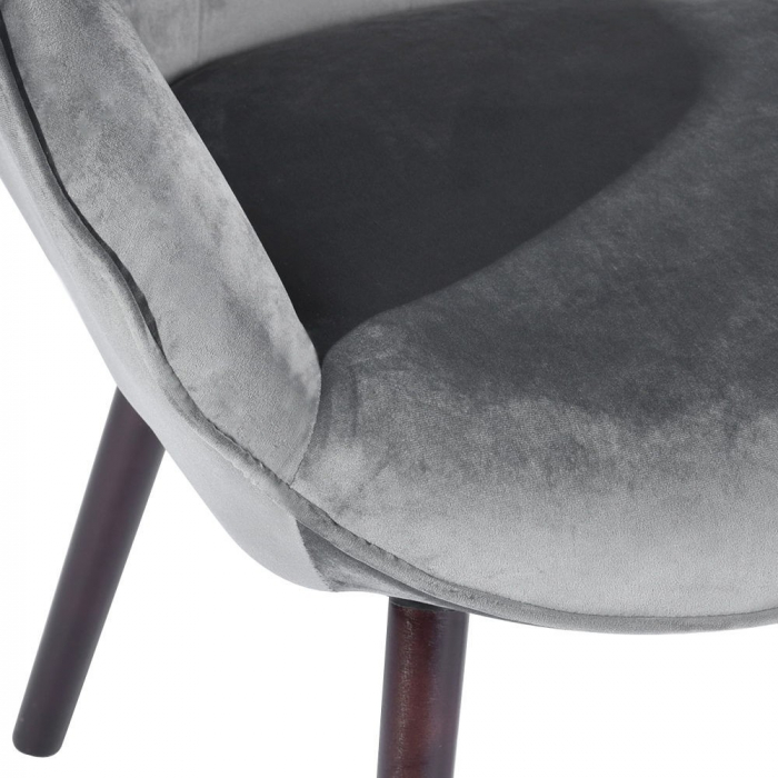 Scaun bucătărie / living fix Custio, tapițat, lemn fag + cadru metal + material textil gri 4