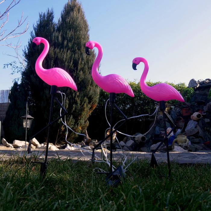 Set 3 lămpi solare, Flamingo, 18x6x52 cm, 3x2 LED, AA 2