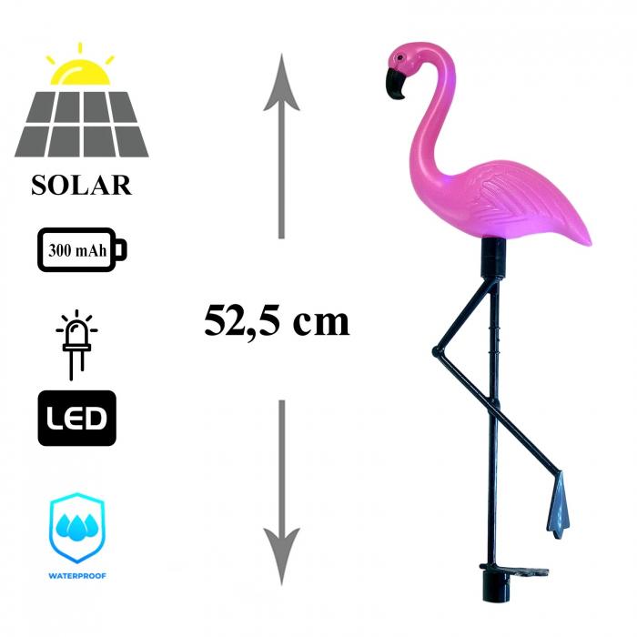 Set 3 lămpi solare, Flamingo, 18x6x52 cm, 3x2 LED, AA 3